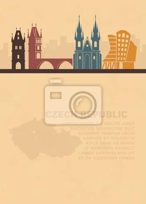 Die Vorlage der Flugblätter mit einer Karte der Tschechischen Republik und architektonischen Attraktionen von Prag