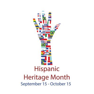 Sticker  Different Flags of America on silhouette people hand.  Cultural and ethnic diversity. National Hispanic Heritage Month.