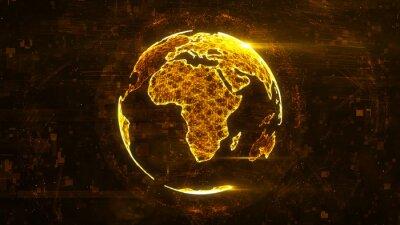 Sticker Digital-abstrakte Kugel hergestellt aus leuchtenden Linien des Plexus. Geschäftstechnologiestruktur der orange Linien, der Punkte und der Partikel. Afrika Kontinent. 3D-Rendering