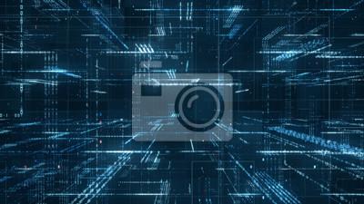 Sticker Digital-binär Code-Matrixhintergrund - Wiedergabe 3D eines binären Code-Netzes der wissenschaftlichen Technologiedaten, das Verbindungs-, Komplexitäts- und Datenflut des modernen digitalen Alters über
