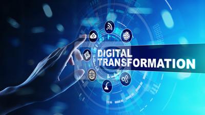 Sticker Digital transformation, disruption, innovation. Business and  modern technology concept.