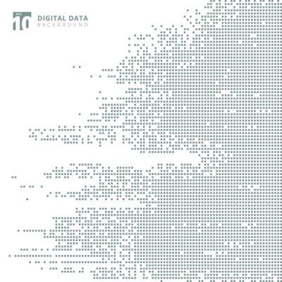Sticker Digitaler Datenquadrat der abstrakten Technologie grauer Musterpixelhintergrund.