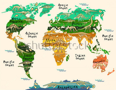 Sticker Dinosaurs map of the world for children and kids