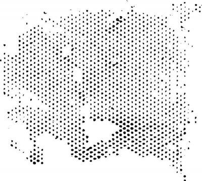 Sticker Dissipierende degenerierende Halbtonmusterstruktur. Vektor-Textur Grunge-Overlay.
