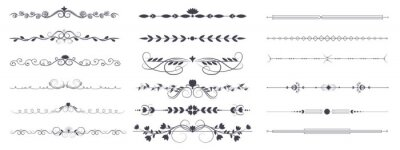 Sticker Divider ornament is a large collection set. Hand-drawn vector line dividers decorated with flowers and leaves. Decorations for greeting cards and posters. Vector illustration, isolated set
