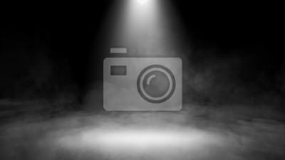 Sticker Divine light through a dark fog. The rays beam light on the floor. Spotlight on isolated background. Stock illustration.