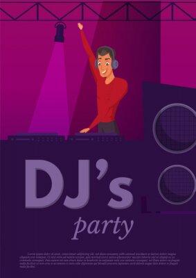 DJ nightclub performance flat color illustration