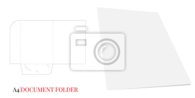 Document Folder A4. Vector with die cut layers. White, clear, blank, isolated Document Folder on white background with perspective view