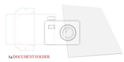 Document Folder, Gusset Folder A4. Vector with die cut / laser cut layers. White, clear, blank, isolated Document Folder with Gusset 3,5mm on white background with perspective view