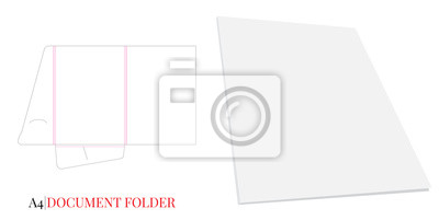 Document Folder, Gusset Folder A4. Vector with die cut / laser cut layers. White, clear, blank, isolated Document Folder with Gusset 5mm on white background with perspective view