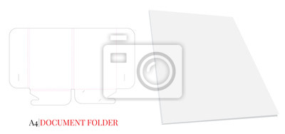 Document Folder, Gusset Folder A4. Vector with die cut / laser cut layers. White, clear, blank, isolated Document Folder with Gusset 8mm on white background with perspective view