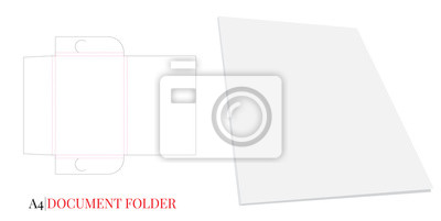 Document Folder, Gusset Folder A4. Vector with die cut layers. White, clear, blank, isolated Document Folder with Gusset 10mm on white background with perspective view