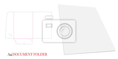 Document Folder, Gusset Folder A4. Vector with die cut layers. White, clear, blank, isolated Document Folder with Gusset 4mm on white background with perspective view
