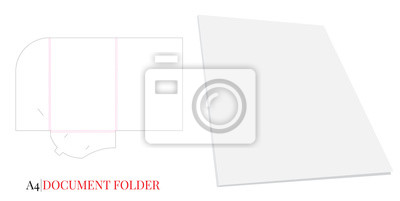Document Folder, Gusset Folder A4. Vector with die cut layers. White, clear, blank, isolated Document Folder with Gusset 5mm on white background with perspective view