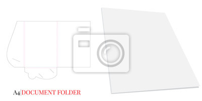 Document Folder, Gusset Folder A4. Vector with die cut layers. White, clear, blank, isolated Document Folder with Gusset 6 mm on white background with perspective view