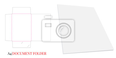 Document Holder, Gusset Folder  Document A4, Vector with die cut / laser layers. White, clear, blank, isolated Document Folder with Gusset 8mm