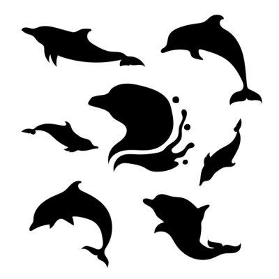 Sticker Dolphin gesetzt Vektor