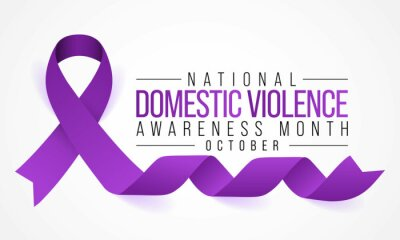 Sticker Domestic Violence awareness month (DVAM) is observed every year in October, to acknowledge domestic violence survivors and be a voice for its victims. Vector illustration