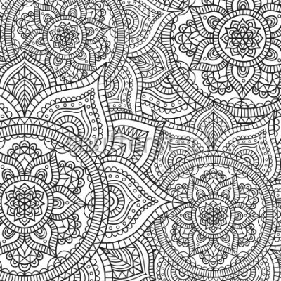 Sticker Doodle pattern with ethnic mandala ornament. Black and white illustration. Outline. Coloring page for coloring book.