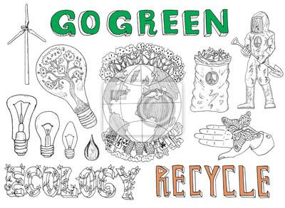 Doodle-Set mit ökologischen und Verschmutzung Symbole