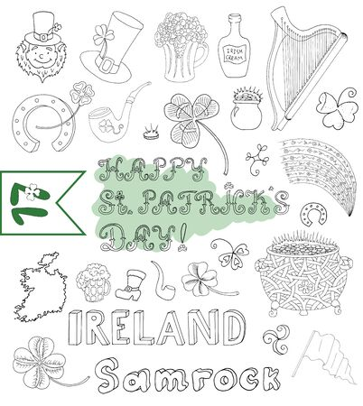 Doodle set with hand drawn graphic symbols of St. Patricks Day: clover, rainbow, pot of gold, pipe, hat, horseshoe, harp, shamrock and lettering. Line art vector drawings and sketch isolated on white