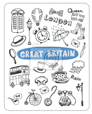 Doodle setzen Sie die berühmtesten Objekte der in England.