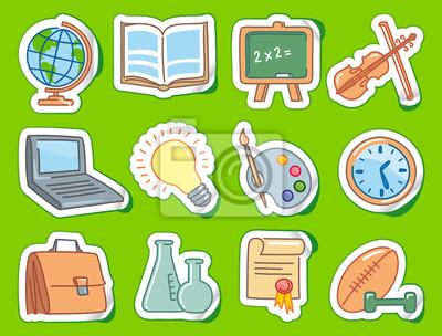 Doodles Bildung Ende-Schule-Icons auf Aufklebern