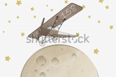 Sticker Doppeldecker und Mond Kinderzimmer Tapeten Design