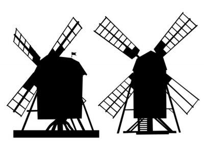 Sticker Dorf alte Mühle auf weißem Hintergrund