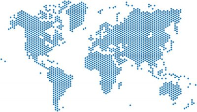 Sticker Dots Weltkarte auf weißem Hintergrund, Vektor-Illustration.