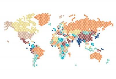 Sticker Dotted Weltkarte der sechseckigen Punkte
