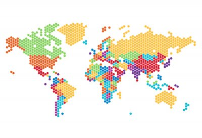 Sticker Dotted World map of hexagonal dots