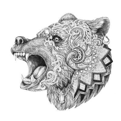 Sticker Dotwork, Tattoos, erzürnt Kopf Bären