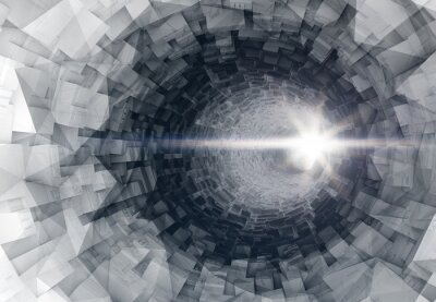 Sticker Drehen 3d digitalen Tunnelinnenraum mit glühendem Ende