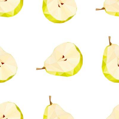 Sticker Dreieck polygonal Birne Vektor-Illustration. Saftige Früchte.
