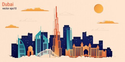 Dubai city colorful paper cut style, vector stock illustration. Cityscape with all famous buildings. Skyline Dubai city composition for design.