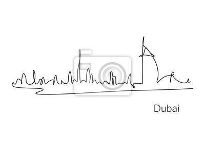 Dubai skyline cityscape one line drawing, vector illustration.