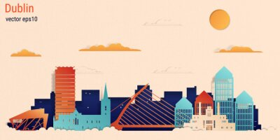 Dublin city colorful paper cut style, vector stock illustration. Cityscape with all famous buildings. Skyline Dublin city composition for design.