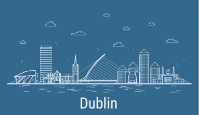 Dublin city, Line Art Vector illustration with all famous towers. Linear Banner with Showplace. Composition of Modern buildings, Cityscape. Dublin buildings set.