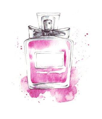 Duftstoff-Aquarellillustration der Parfümflaschenrosaglas, Modeskizze, Kunstdruck