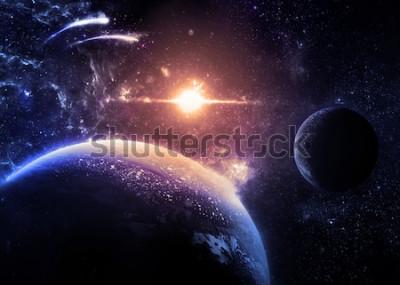 Sticker Dunkler Planet und Mond über einem glühenden Stern - Elemente dieses Bildes geliefert von der NASA