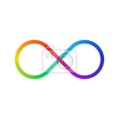 Dünne Linie Unendlichkeitszeichen Farbspektrum. Regenbogengradient in Form des Unendlichkeitszeichens. Bunte Steigung mit acht Zeichen.