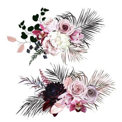 Sticker Dusty rose, hydrangea, pink cymbidium orchid, berry, bronze, black palm leaves
