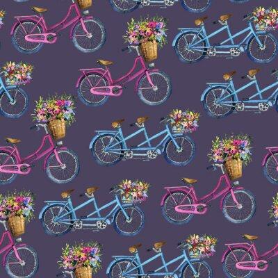 Sticker Eamless Muster mit Fahrrädern und Blumen