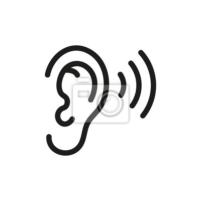 Sticker Ear listening icon. Vector. Isolated.