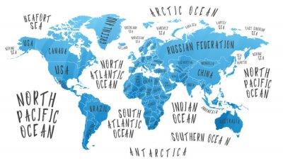 Sticker Earth-Karte mit dem Namen der Länder