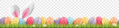 Sticker Easter bunny ears with easter eggs on meadow with flowers background banner transparent