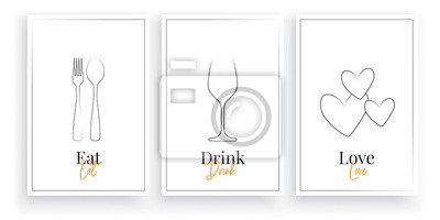 Eat, Drink, Love. Scandinavian minimalist art design, three pieces poster artwork design, vector. Fork and spoon illustration, Wine Glass and hearts. Wall artwork, home decor, wall art design