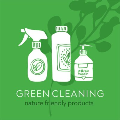 Eco-friendly household cleaning products on green background with plant. Banner for eco cleaning service with non-chemical means. Hand drawn elements for promo, card, poster. Vector illustratration
