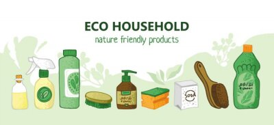 Eco friendly products for house cleaning. Bottles, jars, soap, spray, soda, brushes for labels and promos. Banner for the non-toxic cleaning service. Concept of green house. Flat vector illustration.
